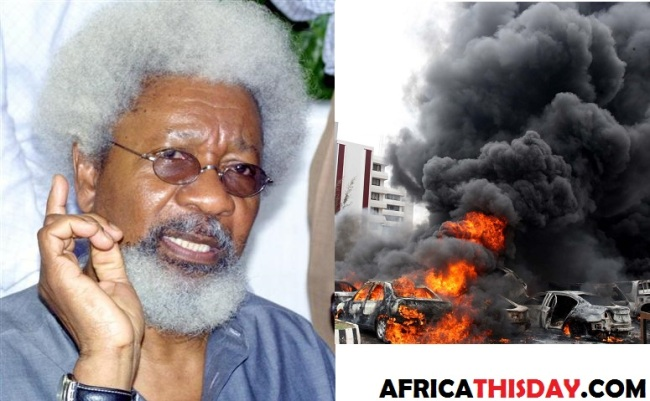 PROF. WOLE SOYINKA SPEAKS ON BOKO HARAM BOMBINGS...Compares America.